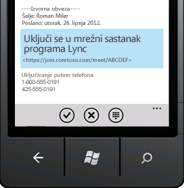 Snimka zaslona s mogućnosti Uključi se u mrežni sastanak programa Lync na mobilnom uređaju