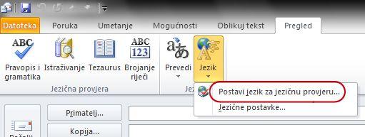 Naredba Jezik na kartici Pregled na vrpci programa Outlook