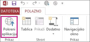 Gumb za pokretanje aplikacije u pregledniku na kartici Polazno