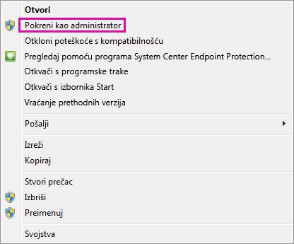 Pokrenite kao administrator iz sustava Windows 7