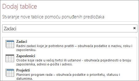 Okvir za pretraživanje predložaka tablice na ekranu dobrodošlice programa Access.