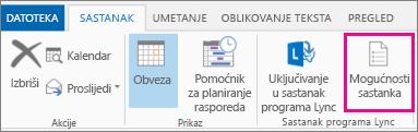 Gumb Mogućnosti sastanka u programu Outlook 2013