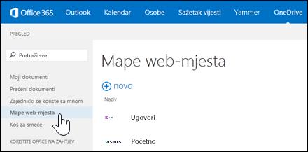 Odaberite mape web-mjesta da biste među web-mjestima koja pratite pronašli ona koja sadrže biblioteke dokumenata