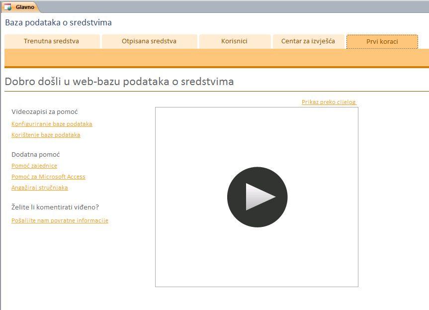 Web-baza podataka o sredstvima