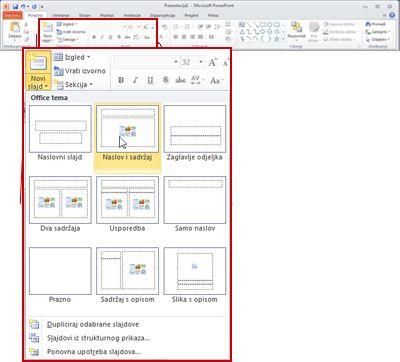 Kartica Polazno u programu PowerPoint 2010, pogled na grupu Slajdovi.
