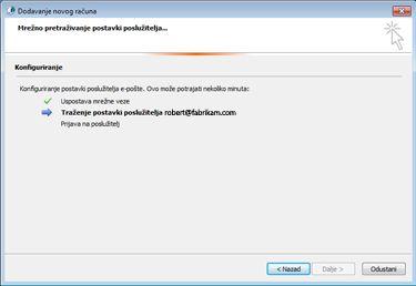 Dijaloški okvir Dodavanje novog računa koji prikazuje da je u tijeku konfiguracija postavki poslužitelja e-pošte