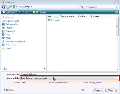Spremanje u obliku datoteke programa PowerPoint 2010.