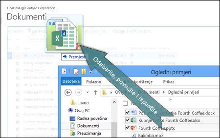 Prijenos datoteka na OneDrive povlačenjem i ispuštanjem
