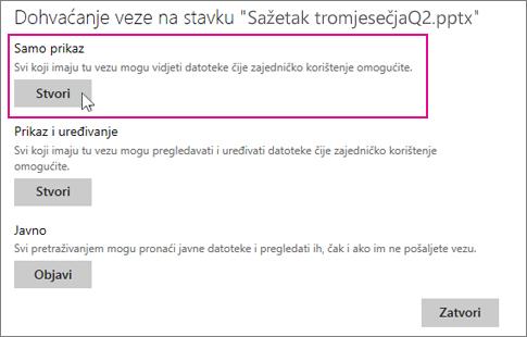 Omogućivanje zajedničkog korištenja primjerka prezentacije samo za pregledavanje