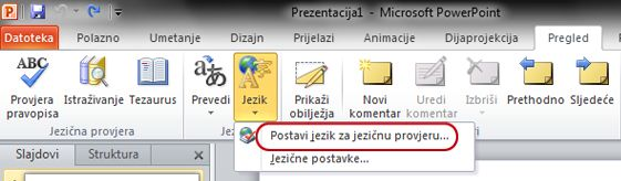 Naredba Postavi jezik na kartici Pregled na vrpci programa PowerPoint
