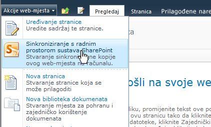 Odaberite tu mogućnost da biste web-mjesto sustava SharePoint sinkronizirali s računalom