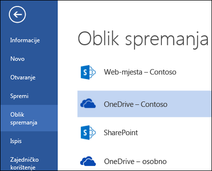 Mapa OneDrive za tvrtke tijekom otvaranja i spremanja datoteke