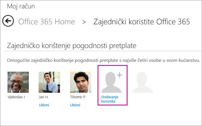 Na stranici računa kliknite Dodaj korisnika da biste nekoga pozvali na zajedničko korištenje pretplate.