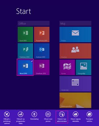 Pokrenite kao administrator s početnog zaslona sustava Windows 8