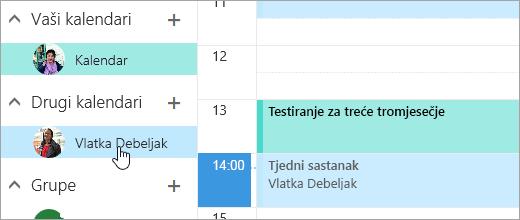 Snimka zaslona zajedničkog kalendara.
