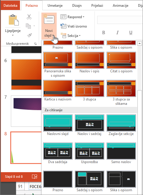 Kliknite strelicu pokraj gumba novi slajd za odabrano matrica