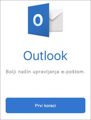 Snimka zaslona na kojoj se prikazuje Outlook s gumbom Početak rada.