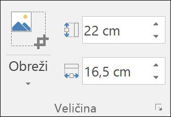 Snimka zaslona koja prikazuje postavke visine i širine