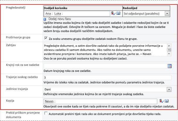 Druga stranica obrasca za pridruživanje s označenim poljima obrasca za pokretanje
