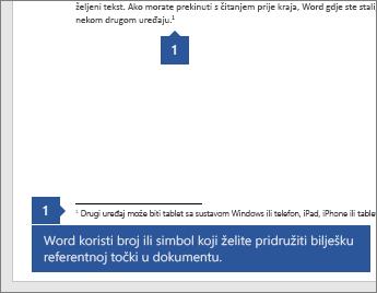 Word koristi broj ili simbol za povezivanje bilješki s referentnom točkom u dokumentu