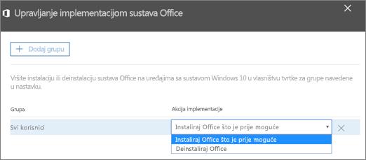 U oknu Upravljanje implementacijom sustava Office odaberite Instaliraj Office što je prije moguće ili Deinstaliraj Office.