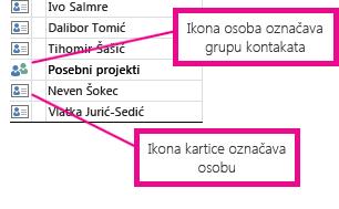 Grupe kontakata označene su ikonom osobe, a pojedinačne osobe ikonom kartice