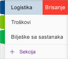 Brisanje sekcije u aplikaciji OneNote za iOS