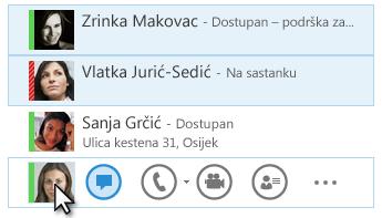 Snimka zaslona s kontaktima i prikazom njihova stanja te istaknutom ikonom za izravne poruke