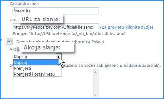 Snimka zaslona odjeljka Postavke veze na stranici Veza za slanje u centru za administraciju sustava SharePoint Online. Tu možete navesti URL odredišta za organizator sadržaja.