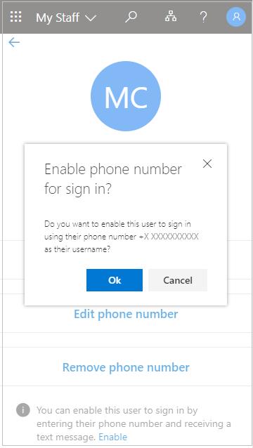 """Snimka zaslona na koju se prikazuje """"Omogućivanje telefonskog broja za prijavu?"""