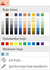 Odaberite padajuću strelicu uz gumb boja fonta da biste otvorili izbornik boja