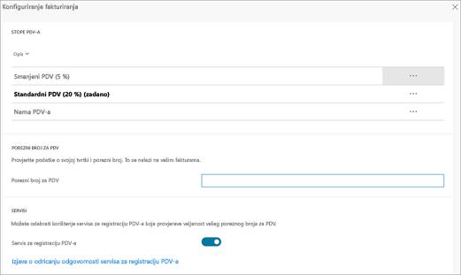 Snimka zaslona: promjena PDV u odjeljku postavke