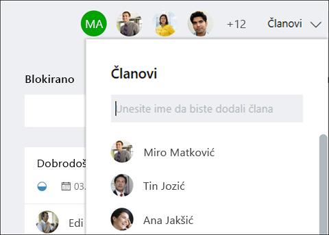 Snimke zaslona: prikazuje da je dok upisujete gost na naziv, Planer označava za goste.