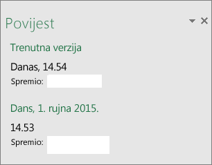 Okno povijesti u programu Excel 2016 za Windows