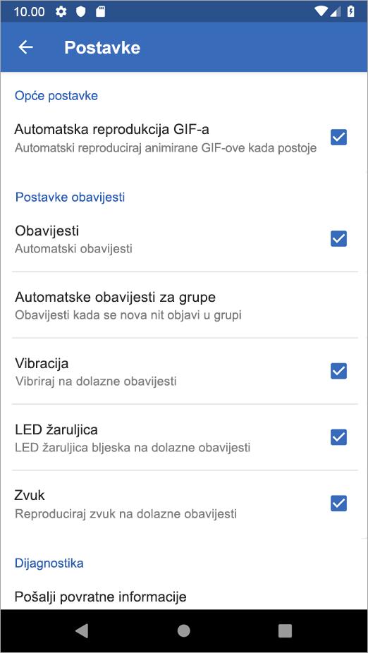 Yammer na mogućnosti postavki za Android