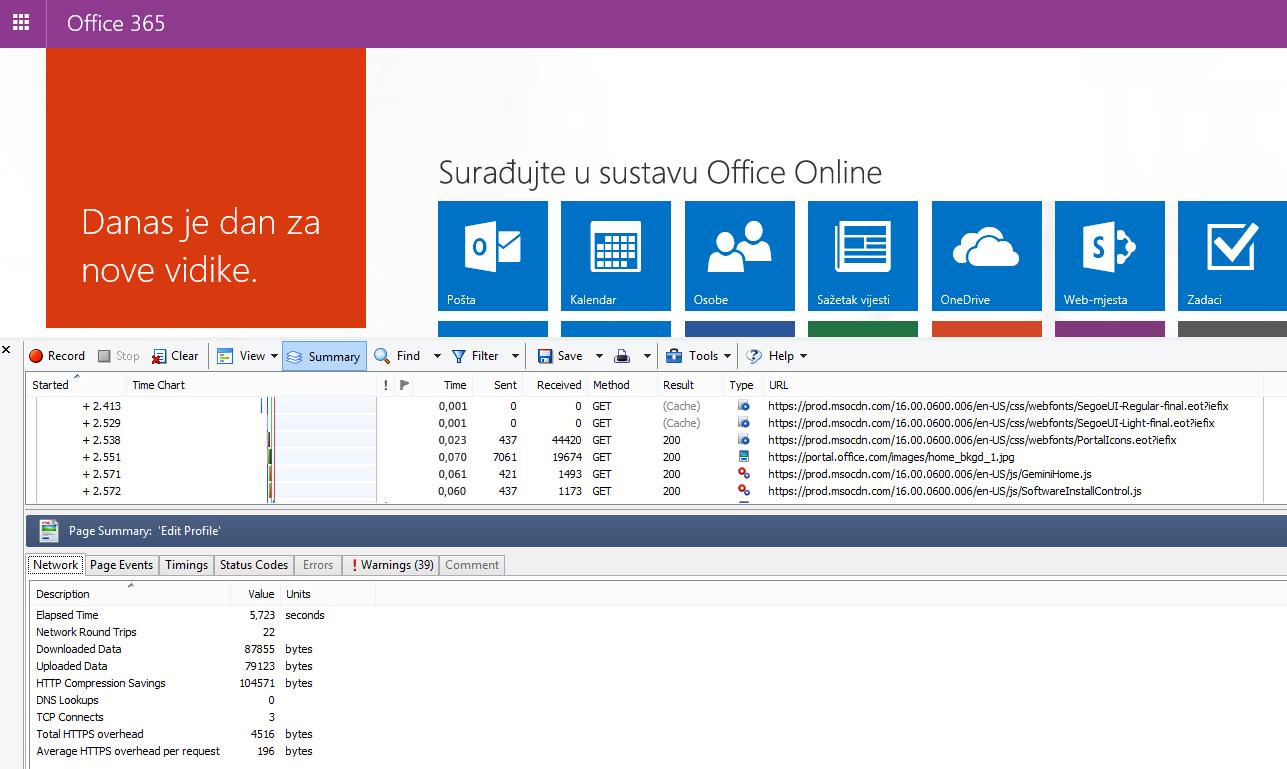 HTTPWatch s prikazom kartice Mreža za trajanje učitavanja početne stranice sustava Office 365.