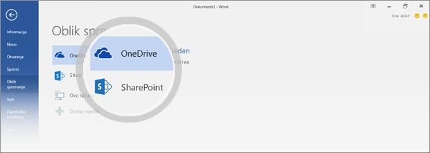 Istaknuta mjesta za spremanje na servisu OneDrive i u sustavu SharePoint