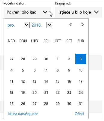 Snimka zaslona s proširenim izbornikom Datum početka za zadatak na servisu Planner.