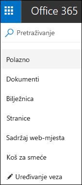Navigacija s lijeve strane timskog web-mjesta
