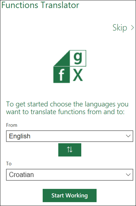 Okno Language Settings (Jezične postavke) dodatka Functions Translator