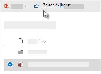 Snimka zaslona na kojoj se prikazuje odabir datoteke i klik na naredbu Zajednički koristi