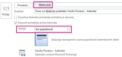 Poziv za zajedničko korištenje poštanskog sandučića e-poštu interno – okvir i detalje o postavka