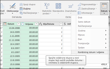 Power Query – spajanje datuma i vremena u stupac Datum/vrijeme iz uređivača upita