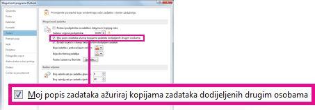 Okvir Moj popis zadataka ažuriraj kopijama zadataka dodijeljenih drugim osobama