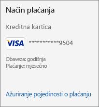 U odjeljku Način plaćanja na stranici Pretplata prikazuje se veza Ažuriranje pojedinosti o plaćanju.