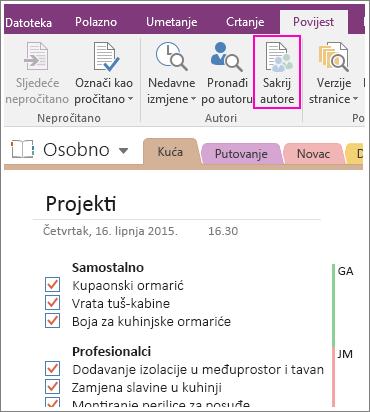 Snimka zaslona s gumbom Sakrij autore u programu OneNote 2016.