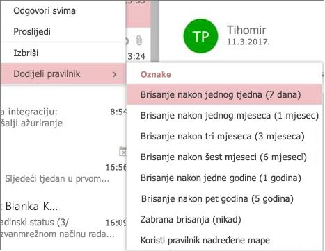 Snimka zaslona s primjerima pravilnika zadržavanja u grupama u programu Outlook na webu