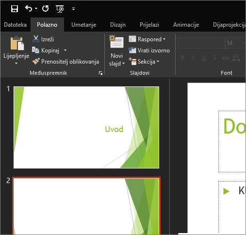 Prikazuje crnu temu u programu PowerPoint 2016 za Windows