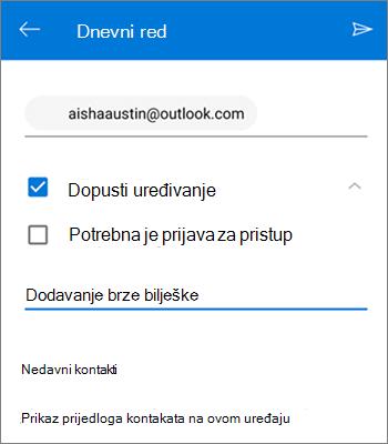 Snimka zaslona pozivanja osoba da zajednički koriste datoteke iz aplikacije OneDrive za Android