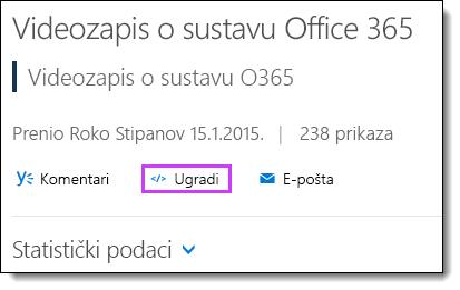 Kod za ugradnju za Office 365 Video